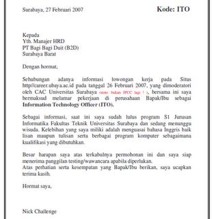 Contoh Surat Lamaran Dalam Bahasa Indonesia